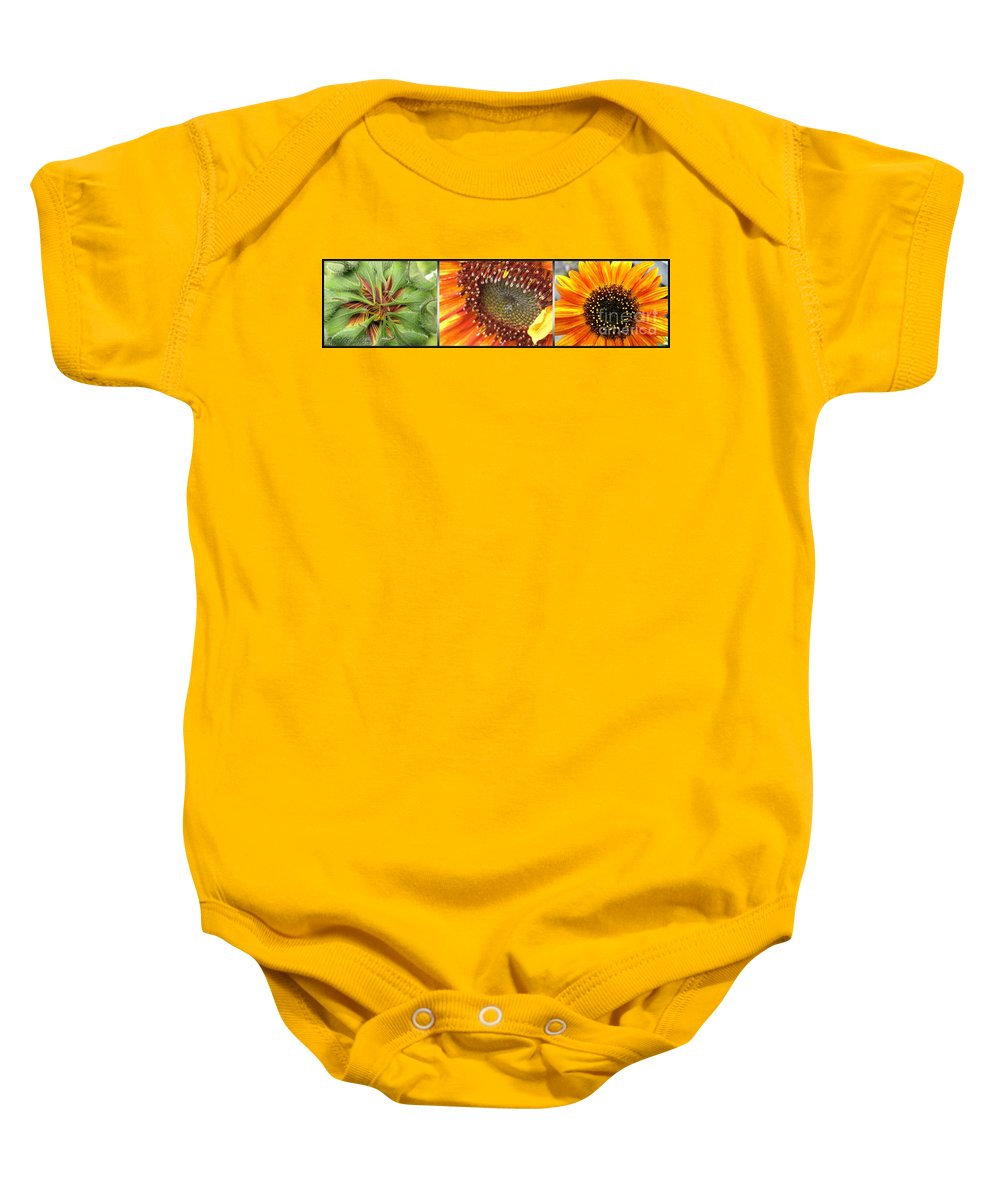 Mccombie Baby Onesie featuring the photograph From Bud To Bloom - Sunflower by J McCombie
