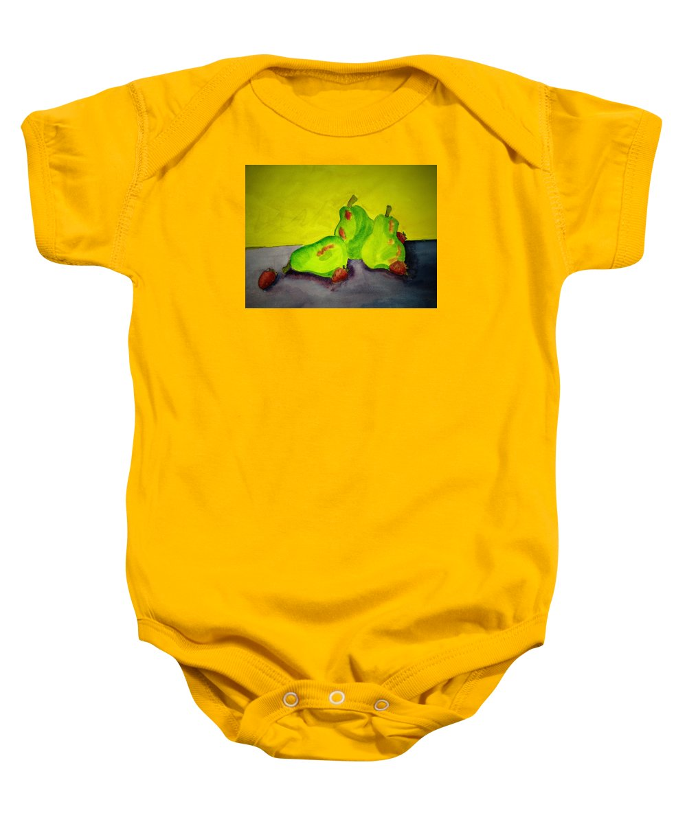 Pears Baby Onesie featuring the painting Fruit Delight by Judy Gerstner