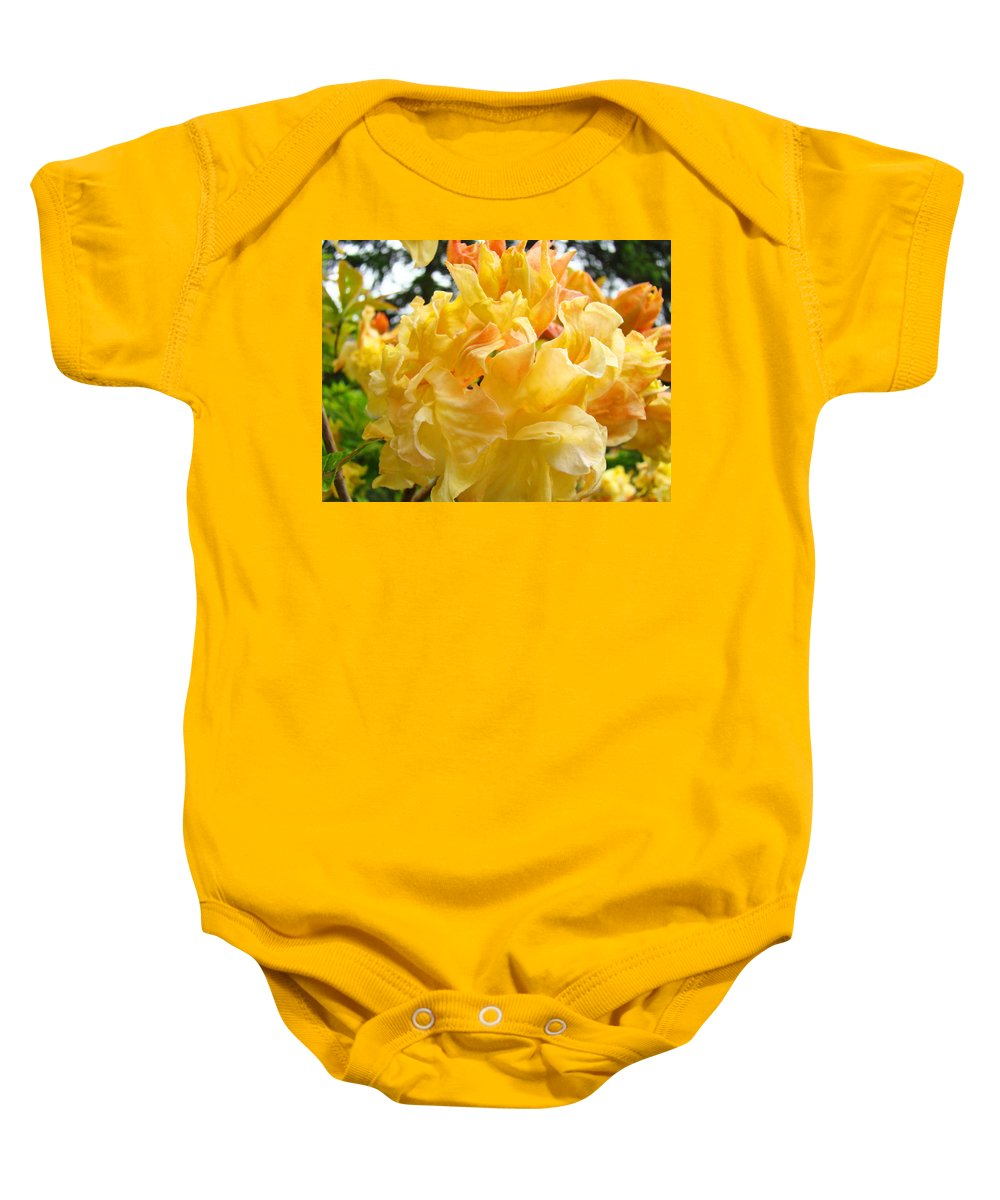 Rhodies Baby Onesie featuring the photograph Gallery Fine Art Prints Yellow Orange Rhodies by Baslee Troutman