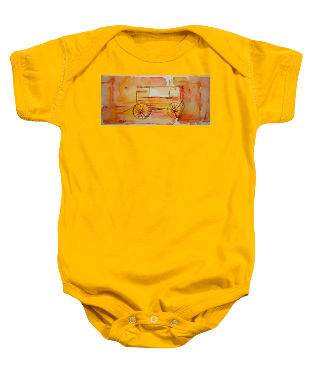 Wagon Baby Onesie featuring the painting Ghost Wagon by Elaine Duras