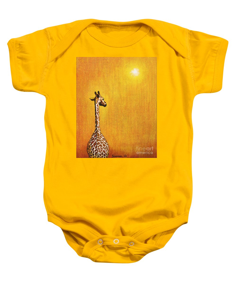 Giraffe Baby Onesie featuring the painting Giraffe Looking Back by Jerome Stumphauzer