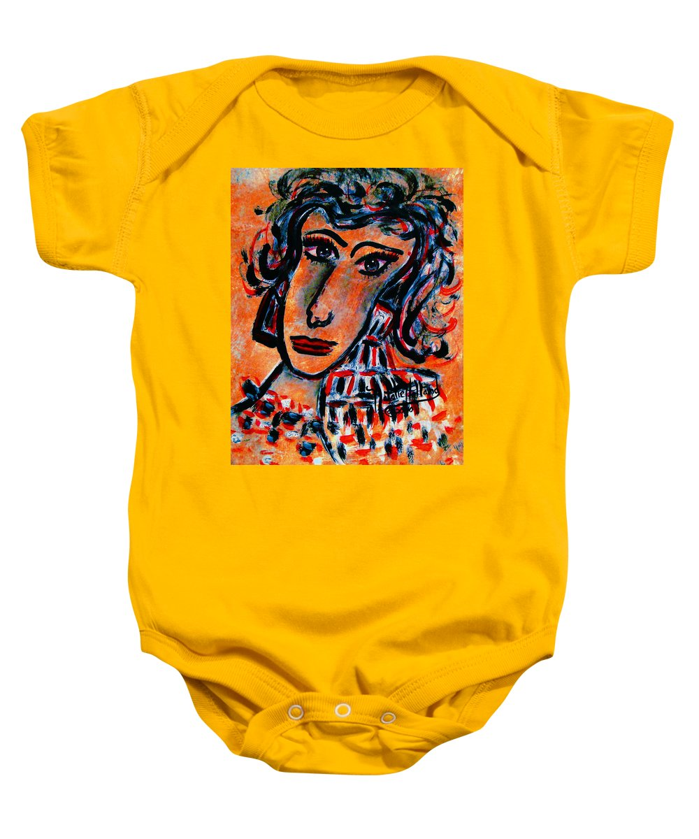 Glamour Baby Onesie featuring the painting Glamour by Natalie Holland