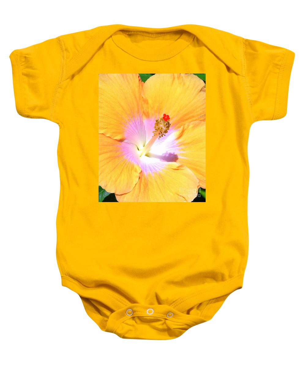 Gold Baby Onesie featuring the photograph Gold Hibiscus by Mary Deal
