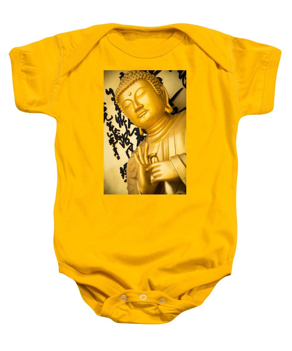 Buddha Baby Onesie featuring the photograph Golden Buddha Statue by Dutourdumonde Photography