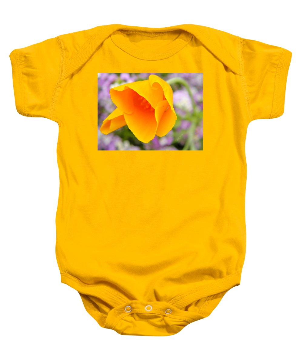 Eschscholzia Baby Onesie featuring the photograph Golden California Poppy by Chris Berry