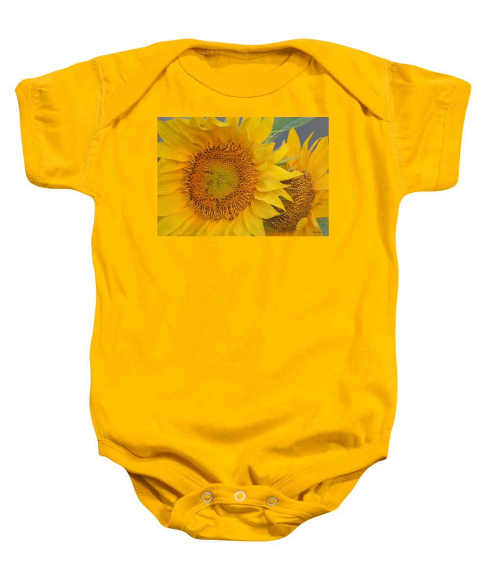 Golden Duo Baby Onesie featuring the photograph Golden Duo - Sunflowers by Maria Urso
