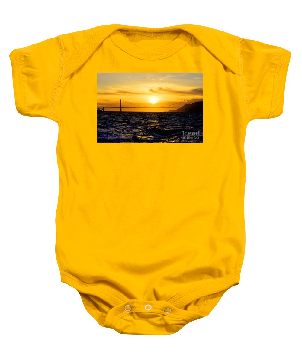 Golden Baby Onesie featuring the photograph Golden Gate Sunset by Rob Hawkins