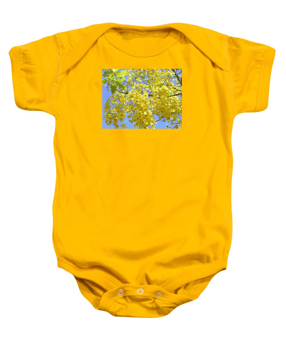 Yellow Baby Onesie featuring the photograph Golden Medallion Shower Tree by Mary Deal