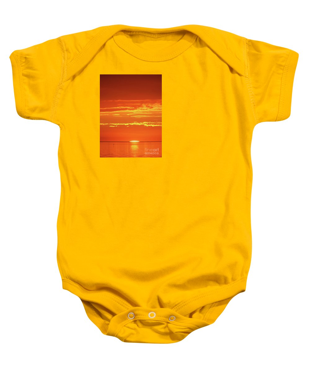 Sunset Baby Onesie featuring the drawing Golden Sunset Glow by D Hackett