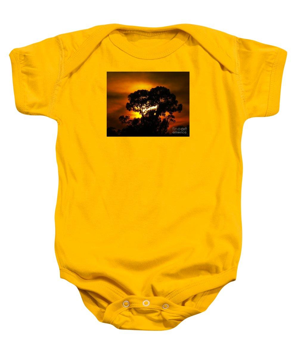 Hellas Baby Onesie featuring the photograph Golden Sunset... by Nina Stavlund