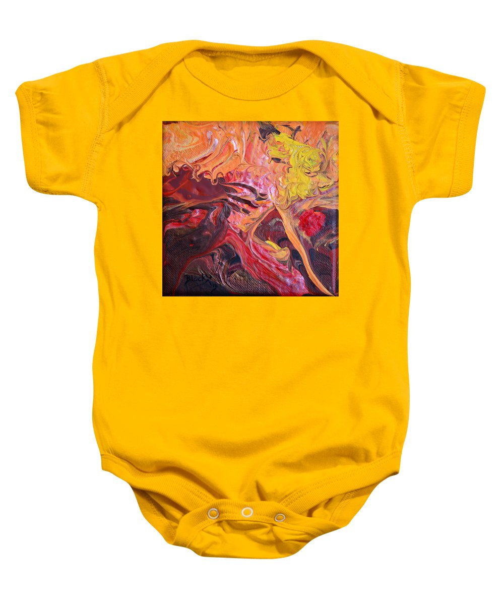 Modern Baby Onesie featuring the painting Goldilocks' Dementia by Donna Blackhall
