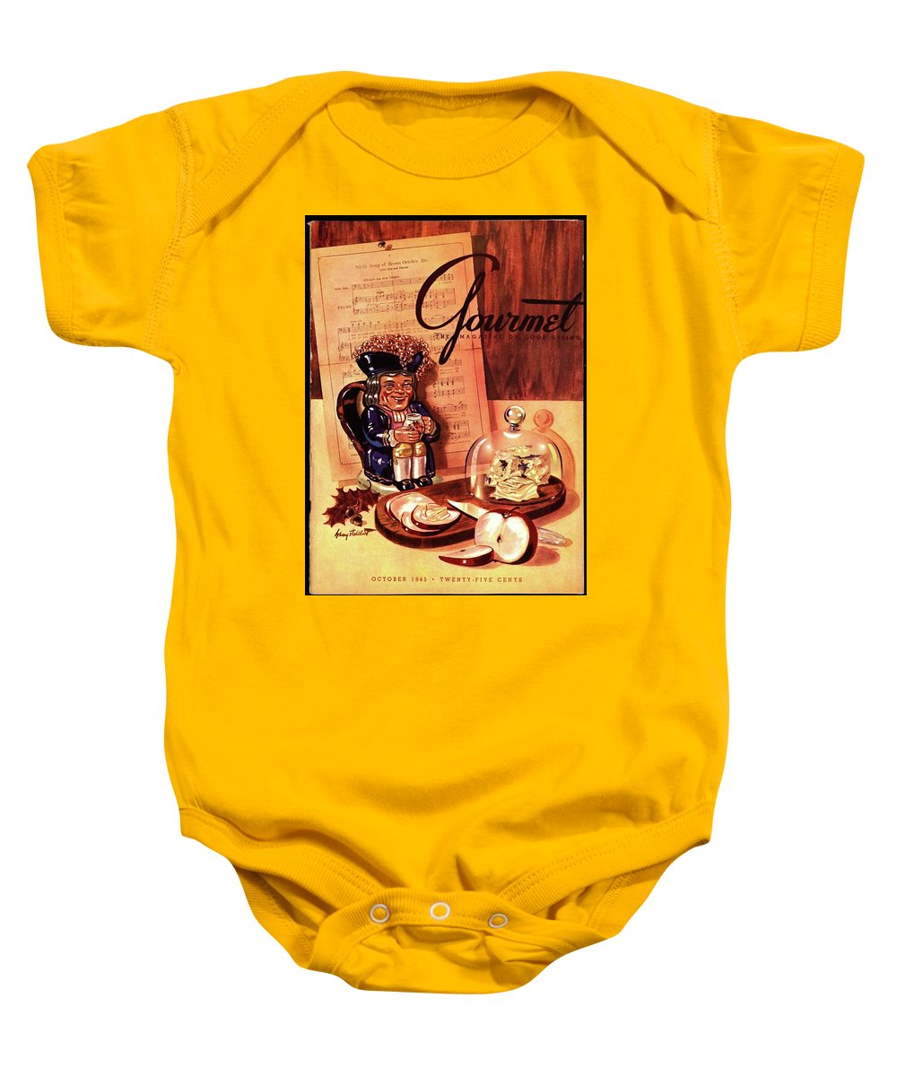 Illustration Baby Onesie featuring the photograph Gourmet Cover Illustration Of A Tray Of Cheese by Henry Stahlhut