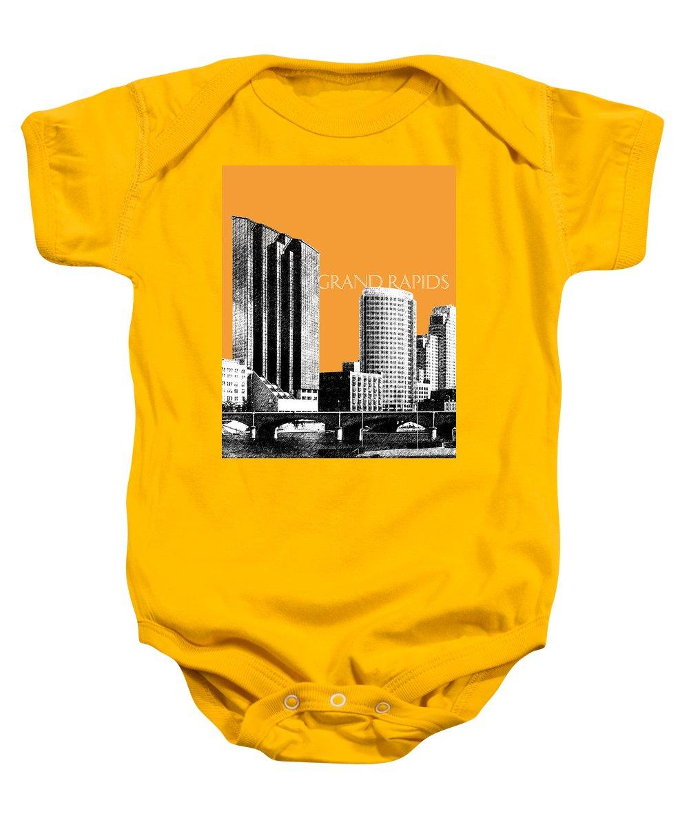 Architecture Baby Onesie featuring the digital art Grand Rapids Skyline - Orange by DB Artist