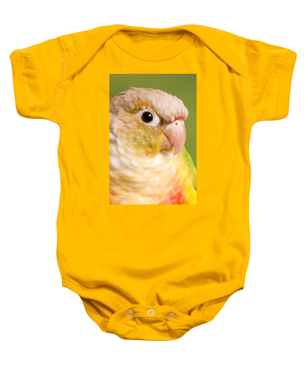 Green-cheeked Conure Baby Onesie featuring the photograph Green-cheeked Conure Pineapple P by David Kenny