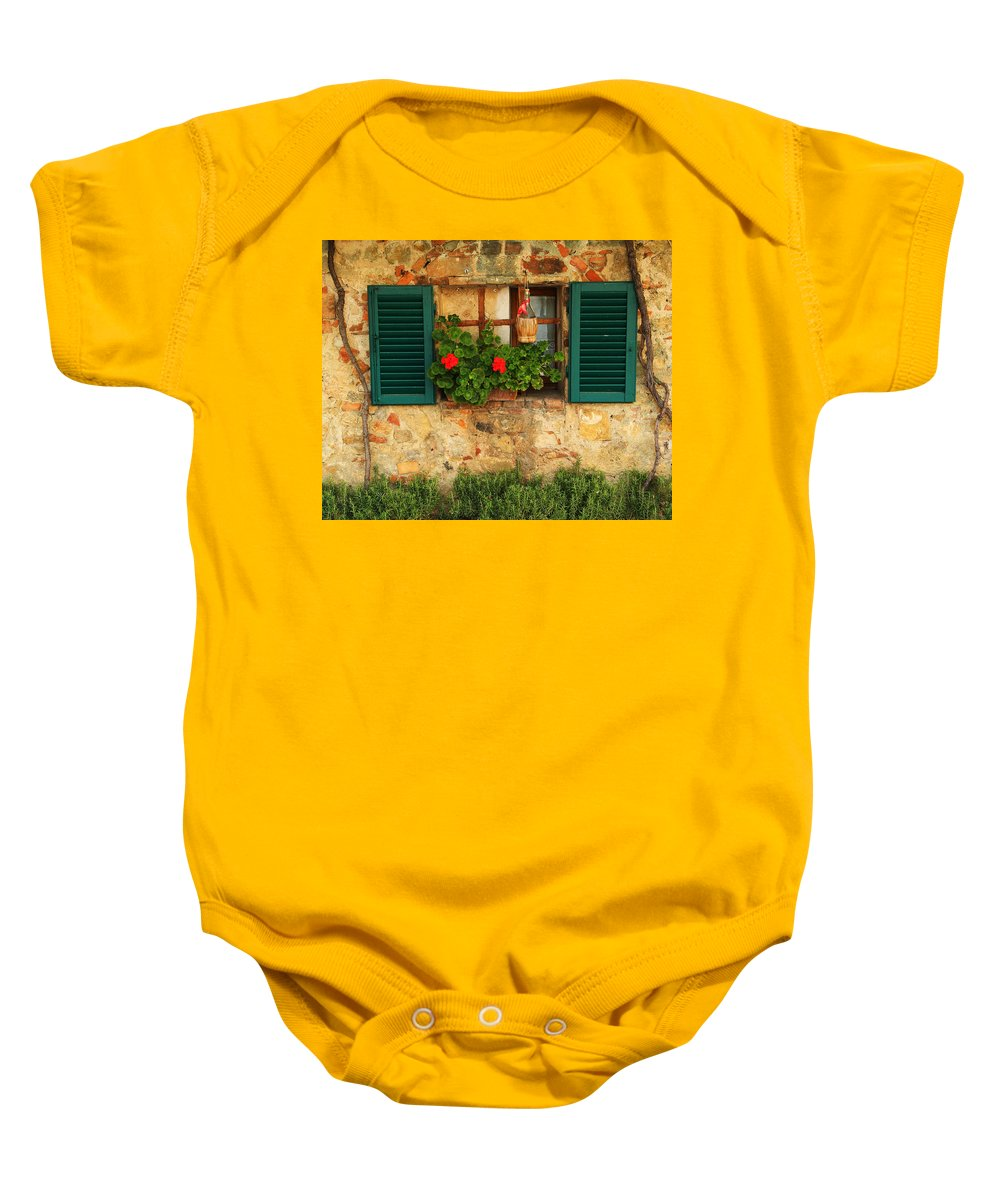 Window Baby Onesie featuring the photograph Green Shutters And Window In Chianti by Greg Matchick