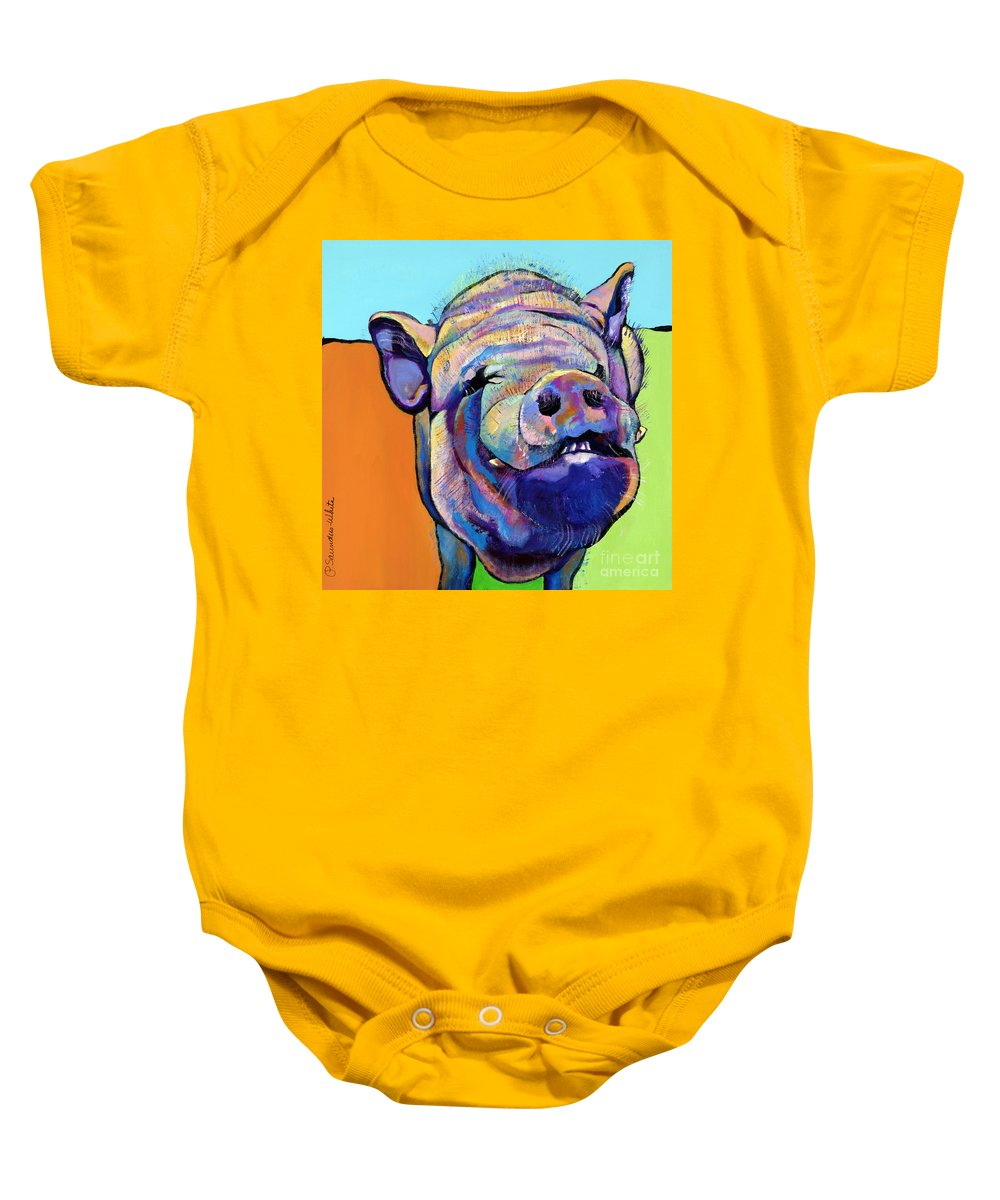 Pat Saunders-white Canvas Prints Baby Onesie featuring the painting Grunt  by Pat Saunders-White