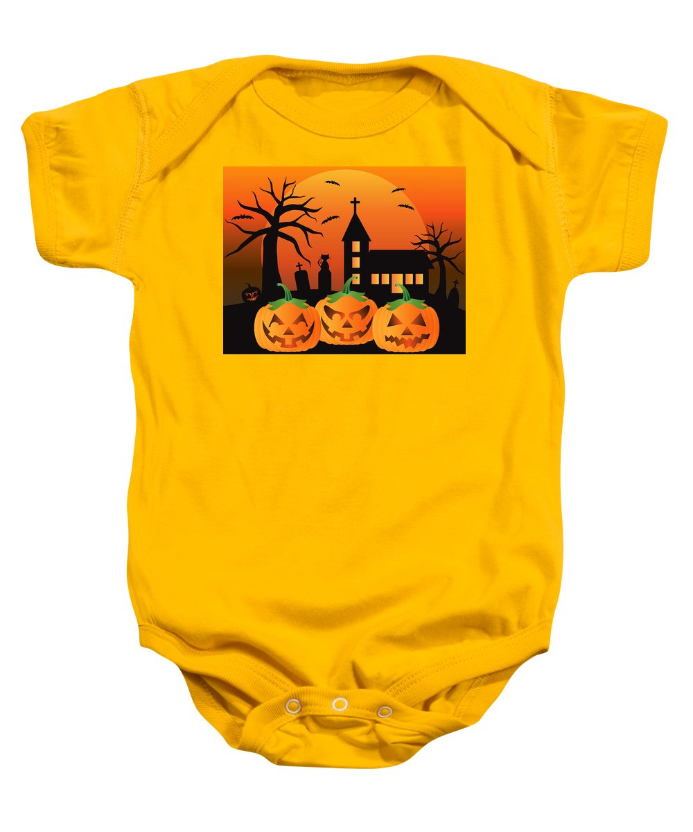 Halloween Baby Onesie featuring the digital art Halloween Jack O Lantern Pumpkins Illustration by Jit Lim