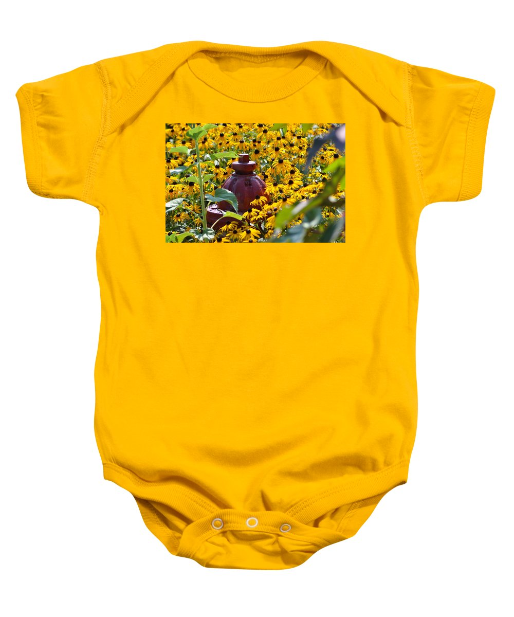 Black Eyed Susans Baby Onesie featuring the photograph Hidden Hydrant by Eric Liller