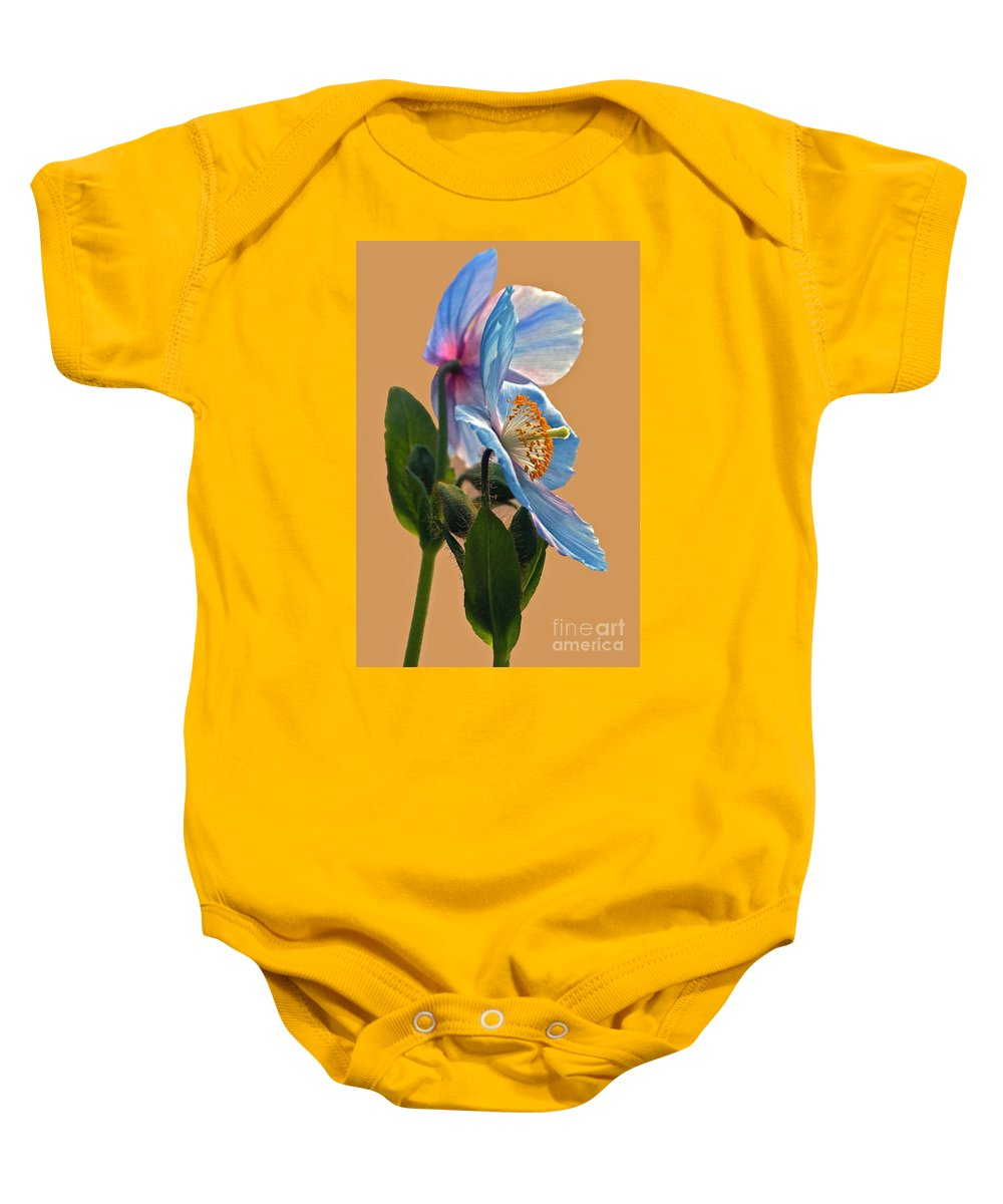 Himalayan Poppies Baby Onesie featuring the photograph Himalayan Wonder Two by Byron Varvarigos