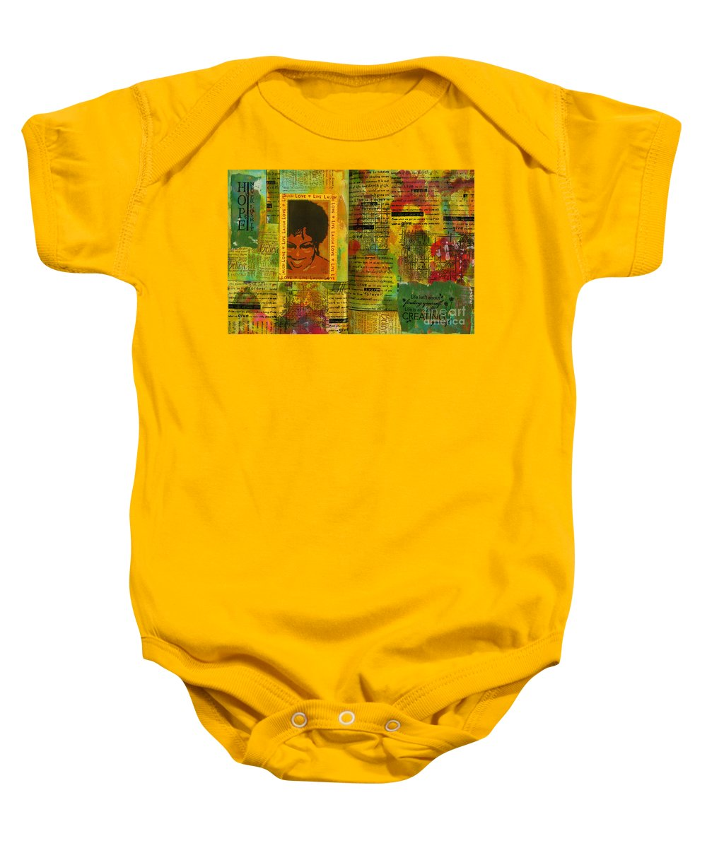 Women Baby Onesie featuring the mixed media Hope And Belief Love And Laugther by Angela L Walker