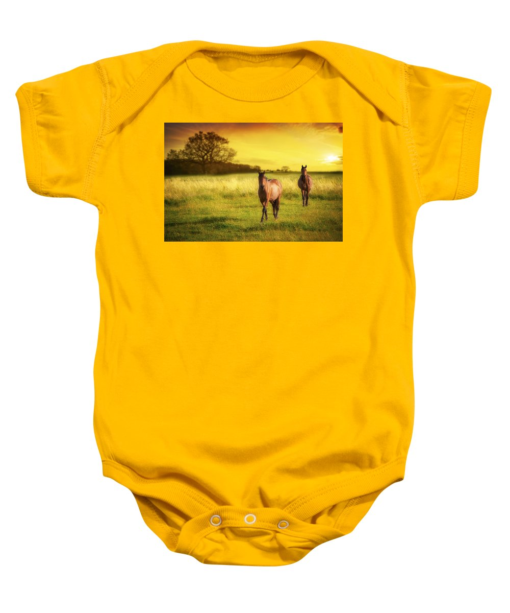 Horse Baby Onesie featuring the photograph Horses At Sunset by Amanda Elwell