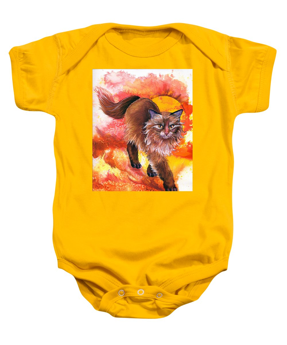 Cat. Kitty Baby Onesie featuring the painting Hot Stuff by Sherry Shipley