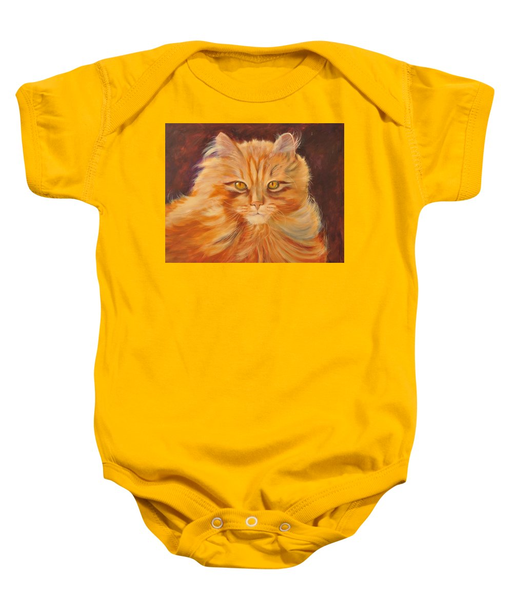 Kitty Baby Onesie featuring the painting In Sight by Pamela Bergen