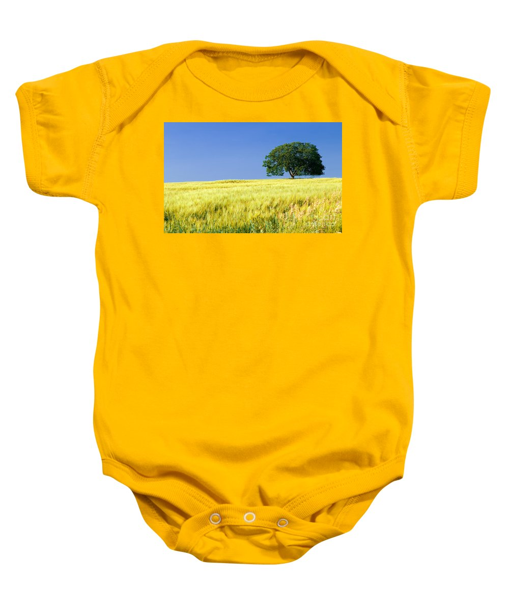 Field Baby Onesie featuring the photograph In The Field by Bob Mintie