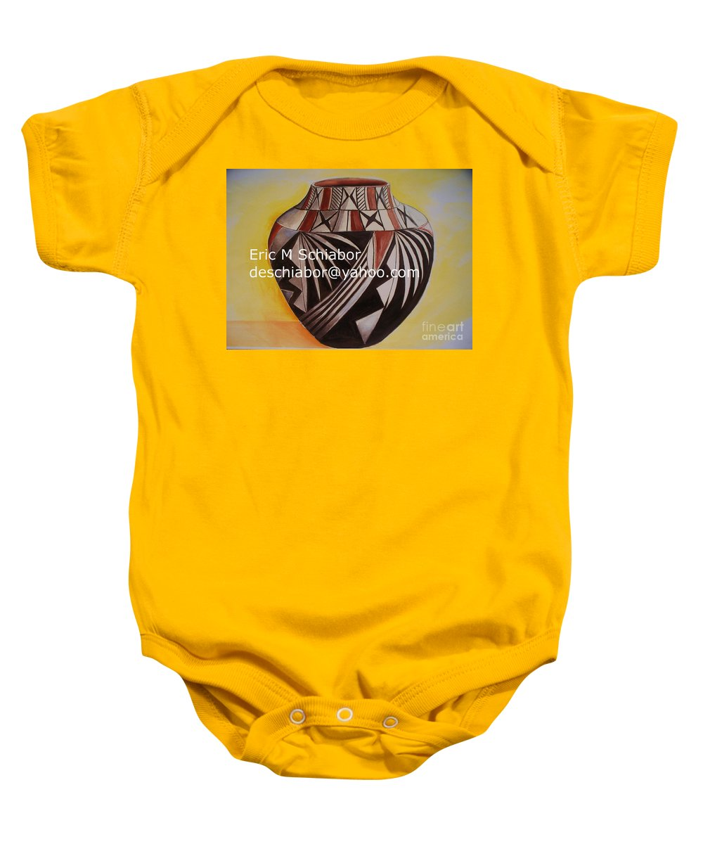 Indian Baby Onesie featuring the painting Indian Pottery by Eric Schiabor