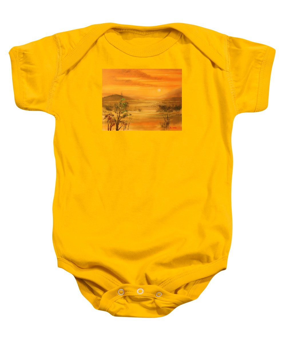 Sunset Baby Onesie featuring the painting Intense Orange by Remegio Onia