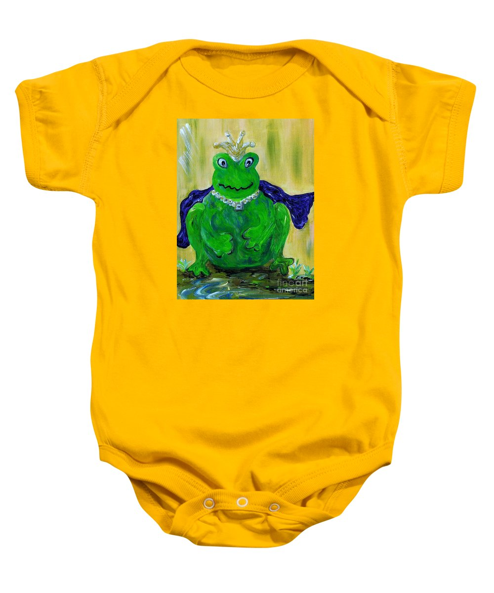 Frog Baby Onesie featuring the painting King For A Day by Eloise Schneider Mote