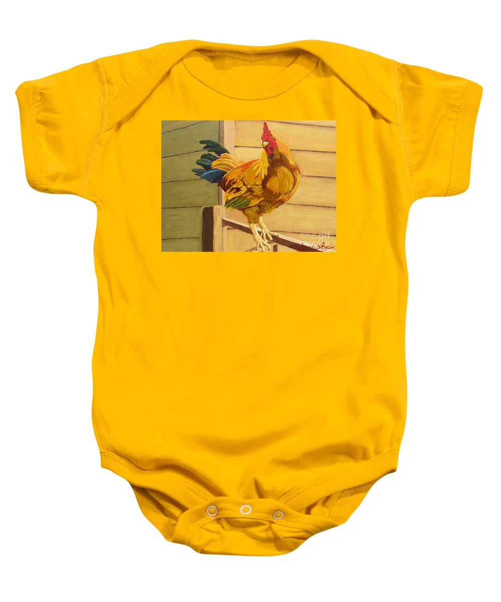 Rooster Baby Onesie featuring the painting King Of The Roost by Anthony Dunphy
