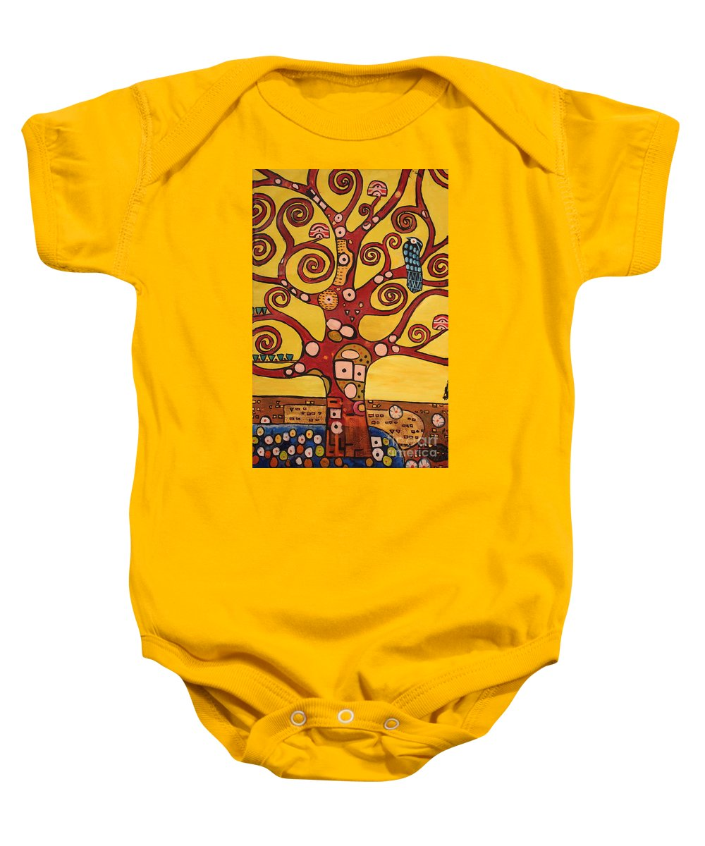 Klimt Baby Onesie featuring the painting Klimt Study Tree Of Life by Stefan Duncan