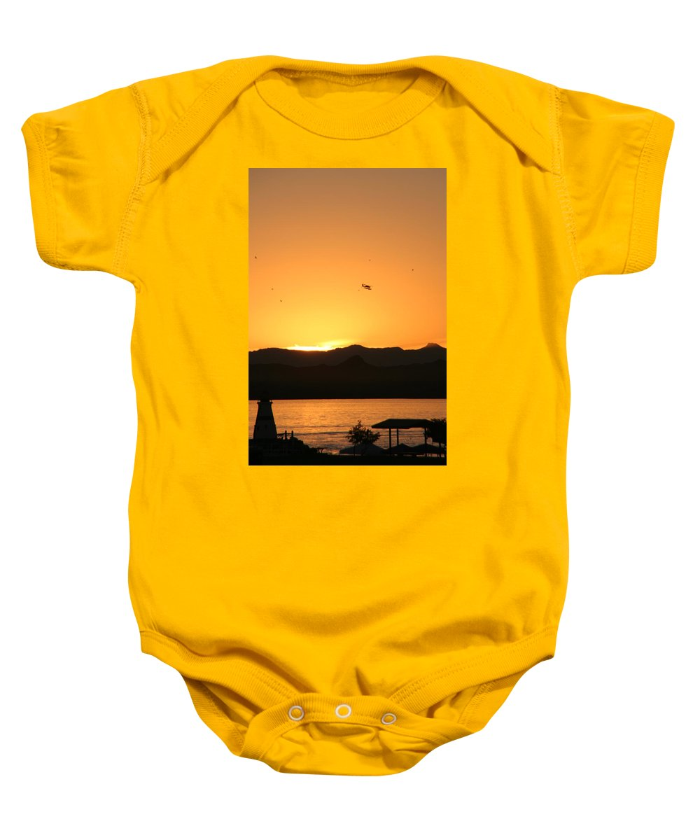 Airplane Baby Onesie featuring the photograph Last Flight Of The Day by David S Reynolds
