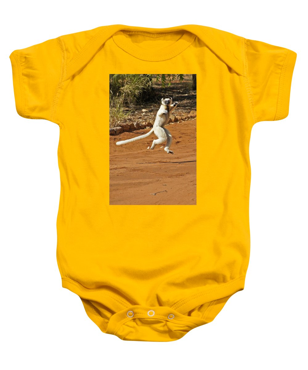 Africa Baby Onesie featuring the photograph Leaping Lemur by Michele Burgess