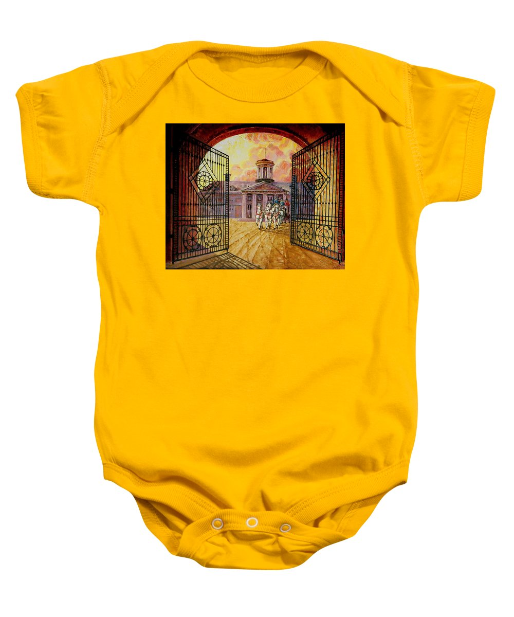 Manor House In Russia Baby Onesie featuring the painting Leaving The Mansion by Raffi Jacobian