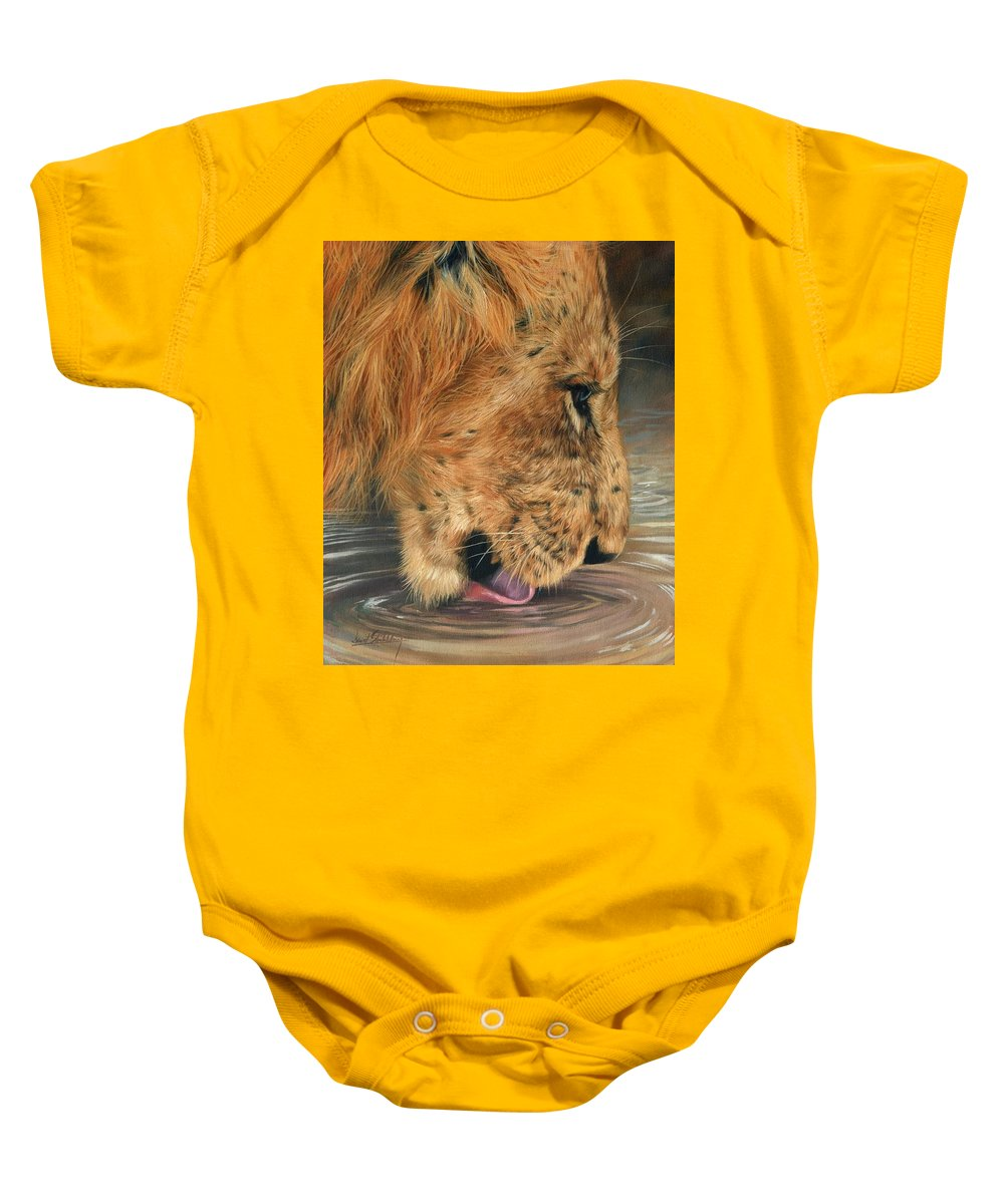 Lion Baby Onesie featuring the painting Lion Drinking by David Stribbling