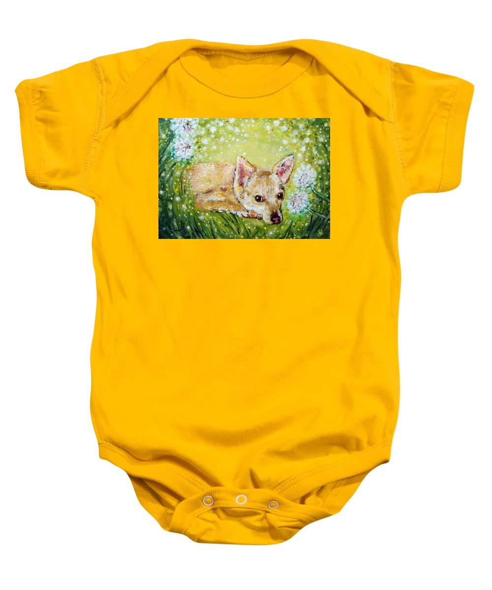 Fern Baby Onesie featuring the painting Little Dog Named Fern by Ashleigh Dyan Bayer