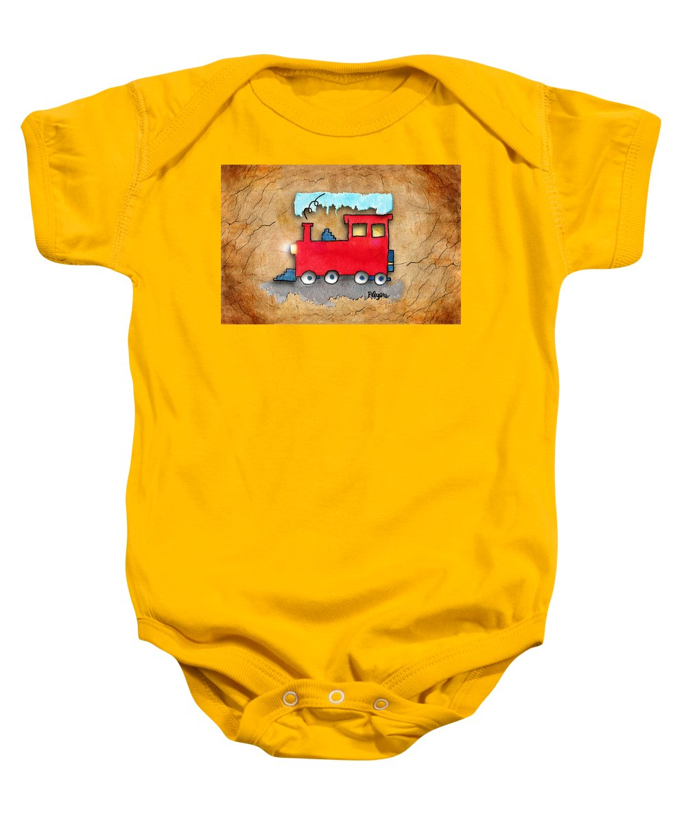 Watercolor Baby Onesie featuring the painting Little Red Train by Paula Ayers