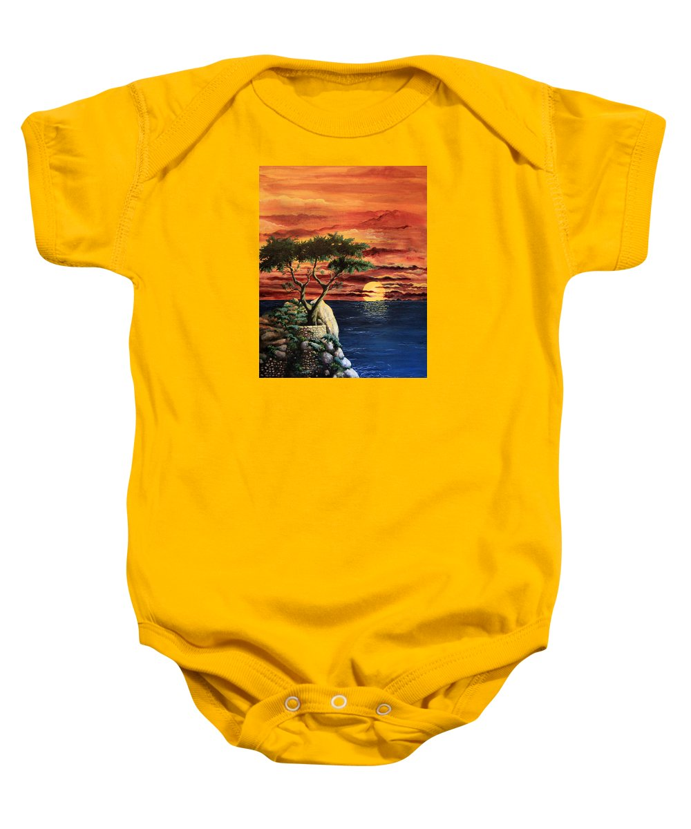 Landscape Painting Baby Onesie featuring the painting Lone Cypress by Mary Palmer