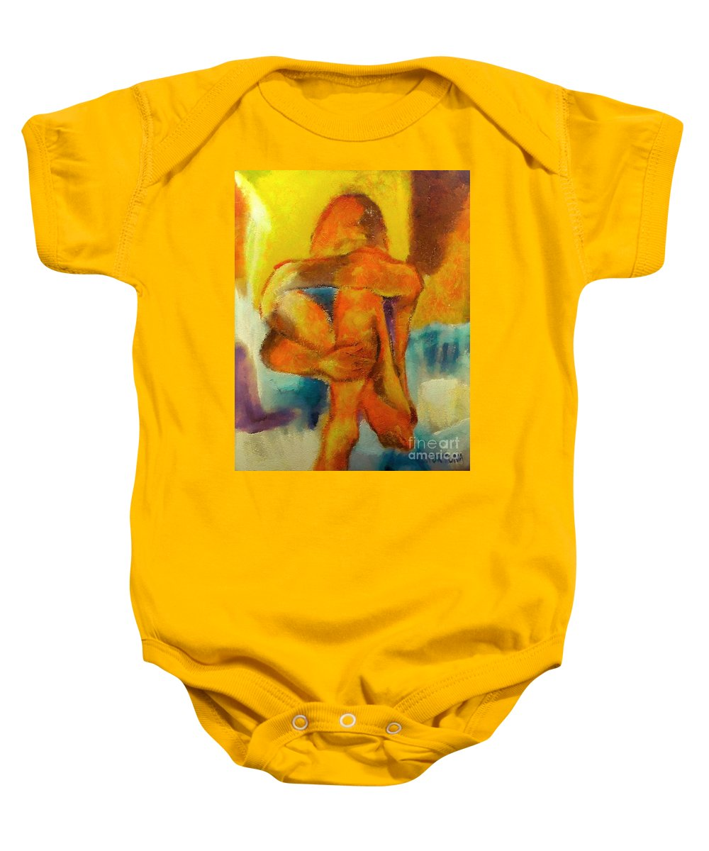 Nude Baby Onesie featuring the mixed media Longing by Dragica Micki Fortuna