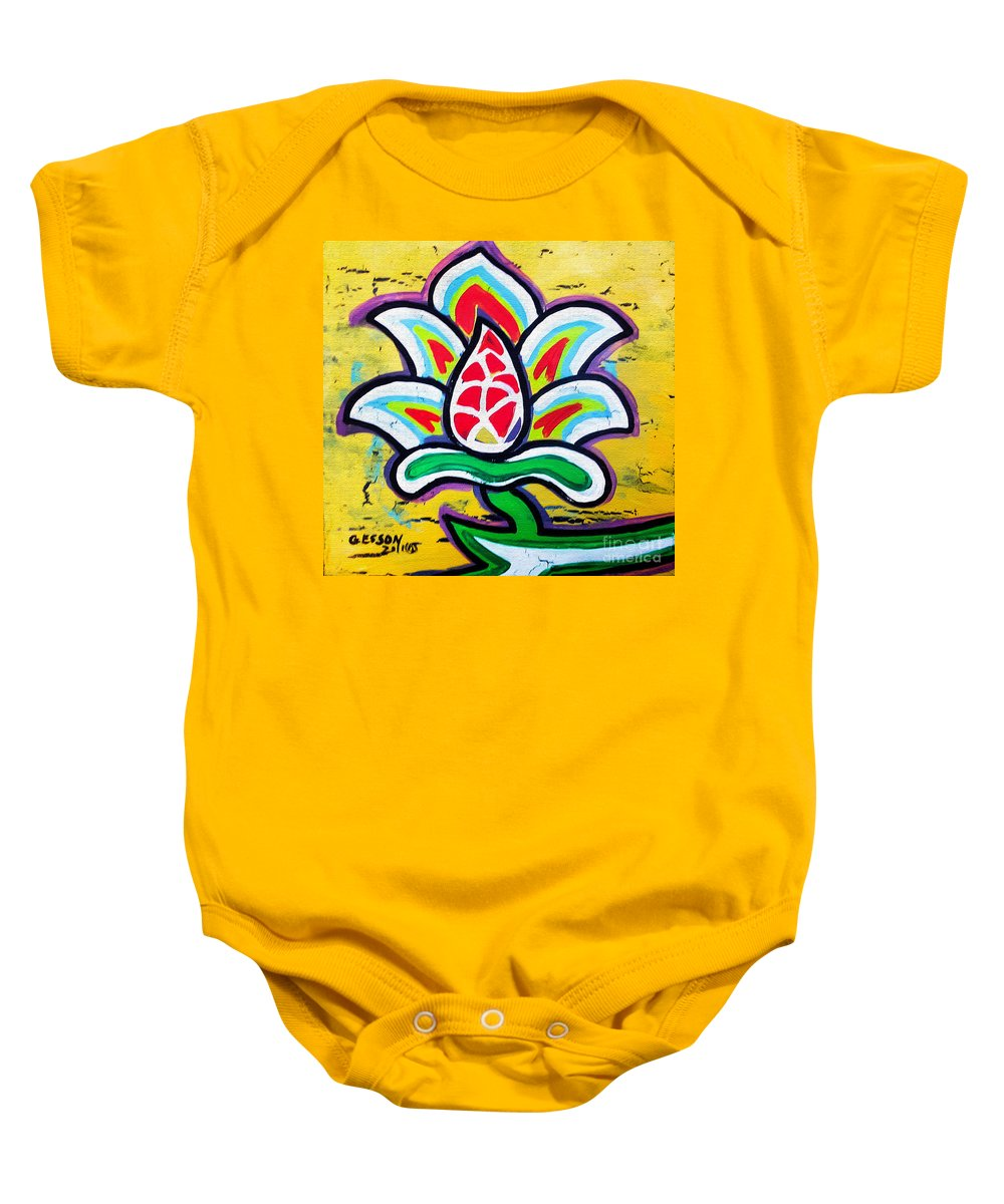 Flower Baby Onesie featuring the painting Lotus Flower by Genevieve Esson
