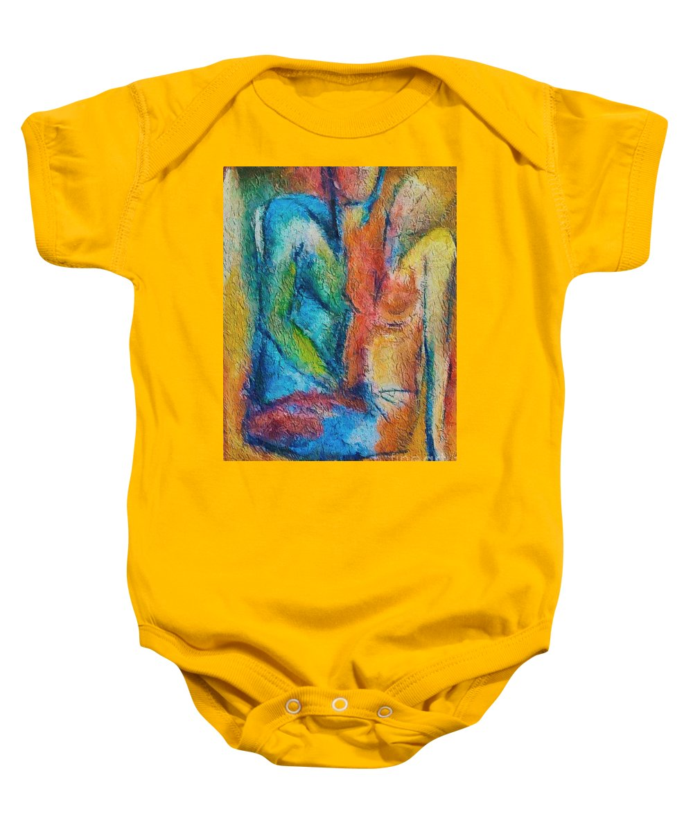 Mixed Media Baby Onesie featuring the painting Lovers by Dragica Micki Fortuna