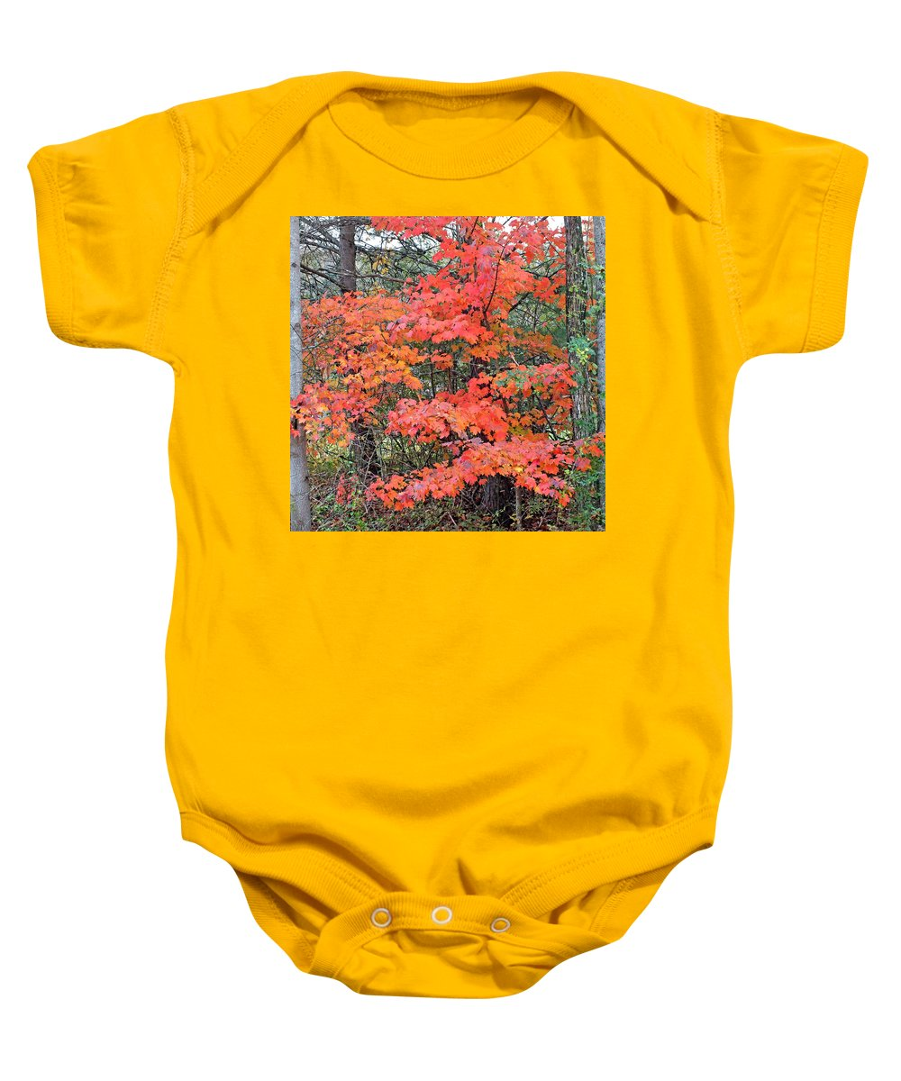 Duane Mccullough Baby Onesie featuring the photograph Maple Rush In The Fall by Duane McCullough
