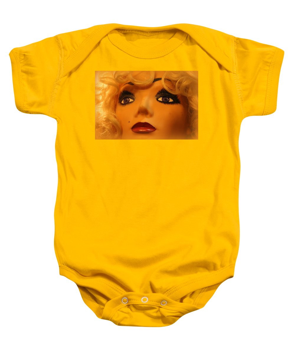 Marilyn Baby Onesie featuring the photograph Marilyn Mannequin by Lynn Sprowl