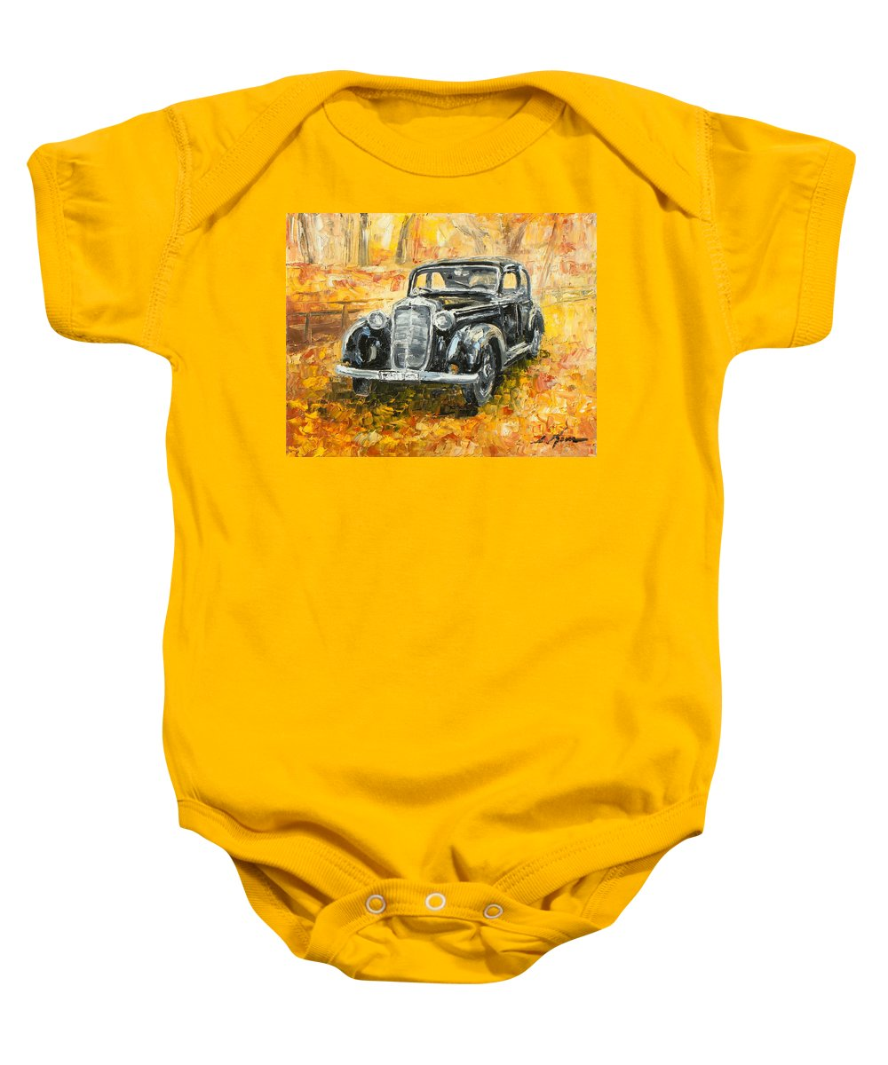 Mercedes Baby Onesie featuring the painting Mercedes 170 S by Luke Karcz