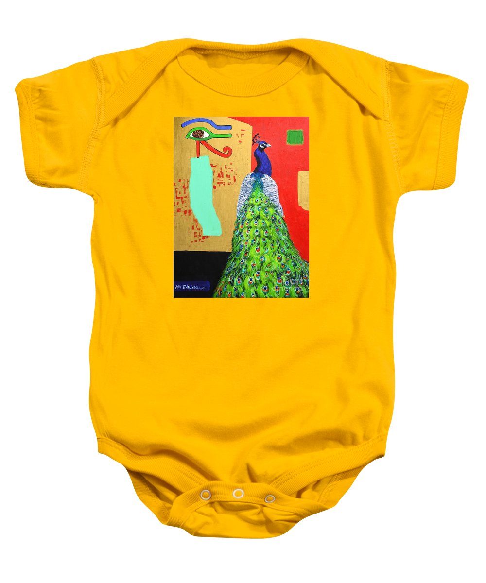 Peacock Baby Onesie featuring the painting Messages by Ana Maria Edulescu