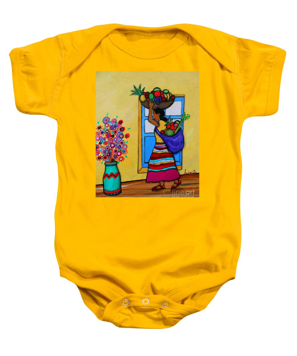 Fruit Baby Onesie featuring the painting Mexican Street Vendor by Pristine Cartera Turkus