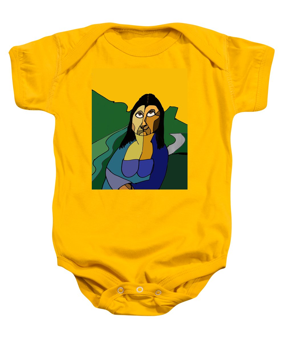 Mona Lisa Baby Onesie featuring the digital art Mona Lisa Updated by Ian MacDonald