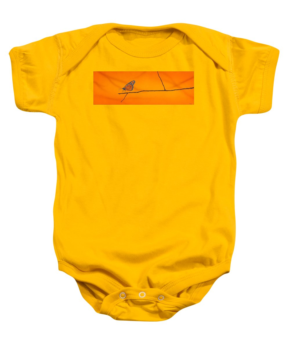 Butterfly Baby Onesie featuring the painting Monarch by Guy Pettingell